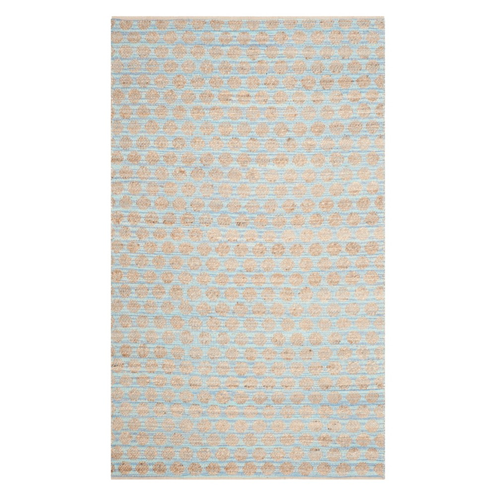 6'X9' Polka Dots Area Rug Blue/Natural - Safavieh