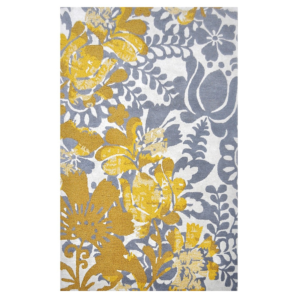 Nila 100% Wool Area Rug - Ivory/Gray/Yellow (5'x7'6)