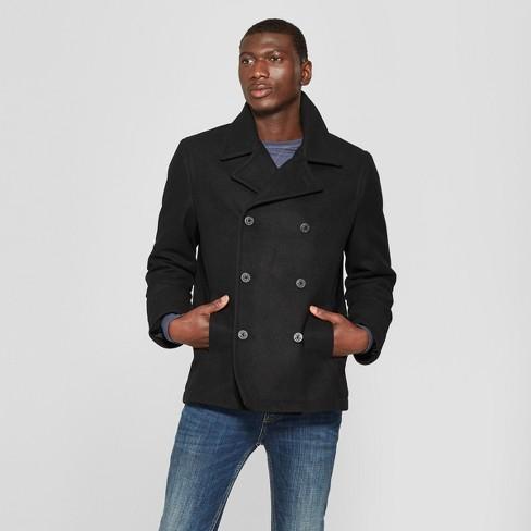 Men s Wool Pea Coat - Goodfellow   Co™ Black   Target 534c65a83
