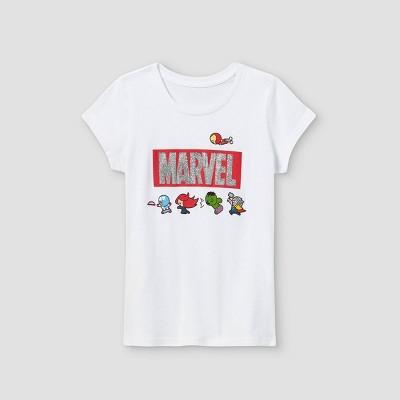 Girls' Marvel Short Sleeve Graphic T-Shirt - White