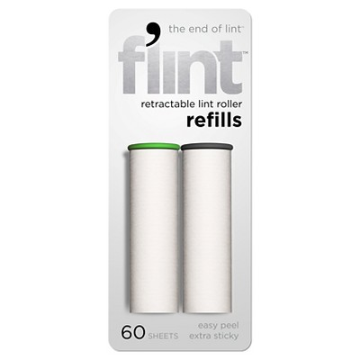 Flint Retractable Lint Roller Refills 2 Pack, 60 Sheets