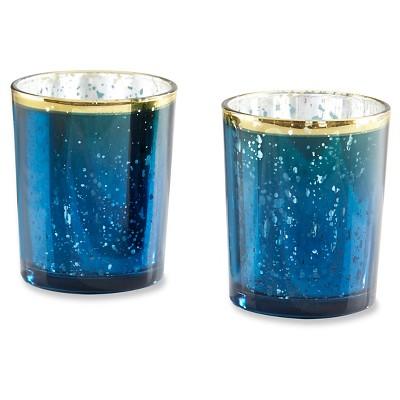 12ct Mercury Glass Tealight Holder Blue - Kate Aspen®