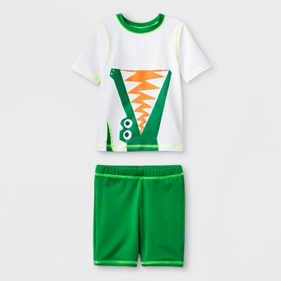 Baby Boys' Short Sleeve Rash Guard with Shorts - Cat & Jack™ Green 12M