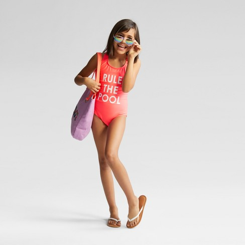 6b0d087291 Girls' Rule The Pool One Piece Swimsuit - Cat & Jack™ Red : Target