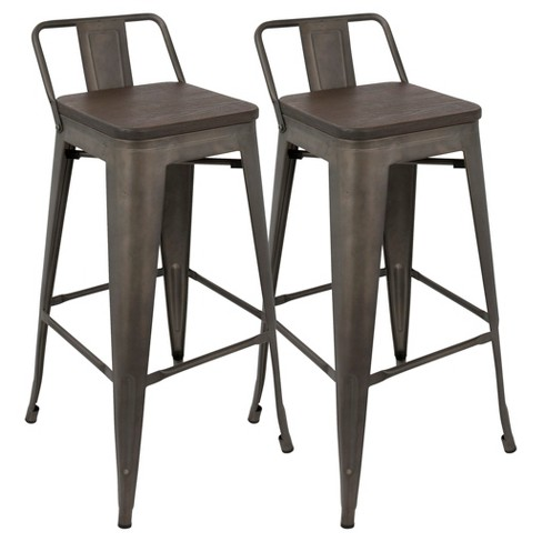 Oregon 30 Industrial Low Back Bar Stool Set Of 2 Lumisource Target