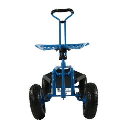 Rolling Garden Cart With Extendable Steering Handle, Swivel Seat And Basket    Blue   Sunnydaze Decor : Target