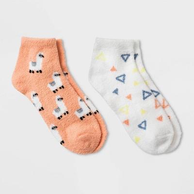 Women's Llama Cozy 2pk Low Cut Socks - Peach 4-10
