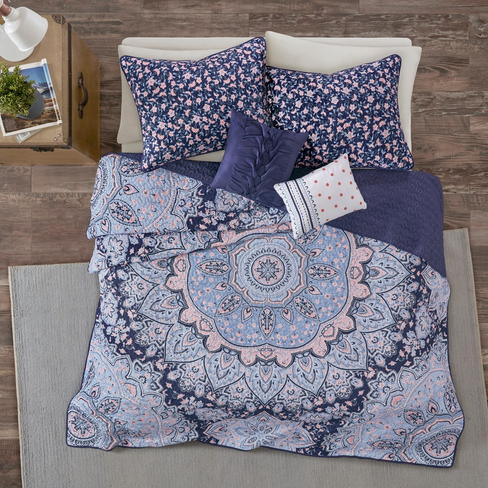 Image of 4pc Twin/Twin XL Willow Boho Coverlet Set Blue