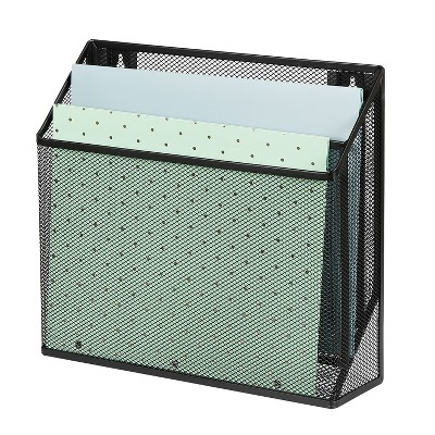 Mesh Hanging File Sorter with Keyholes Black - Made By Design™