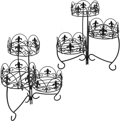"""22"""" Iron French Lily Design 3-Tiered Plant Stand - Set of 2 - Sunnydaze Decor - image 1 of 4"""