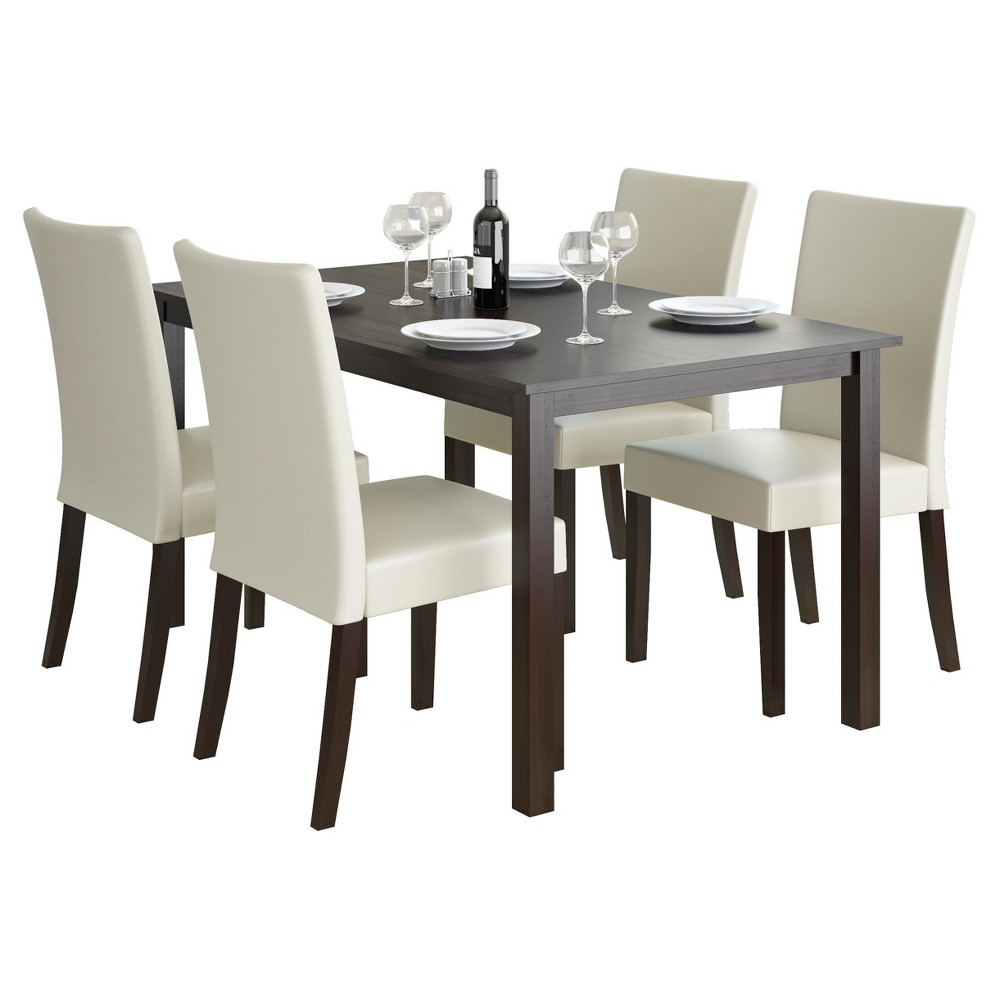 Atwood 5 Piece Dining Set - Cream - CorLiving, Dark Cappuccino