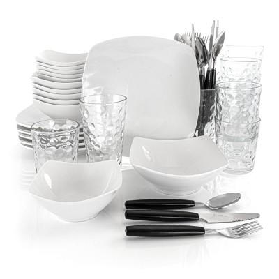 Gibson All U Need 48 Piece Ceramic Dinnerware Combo Set in White