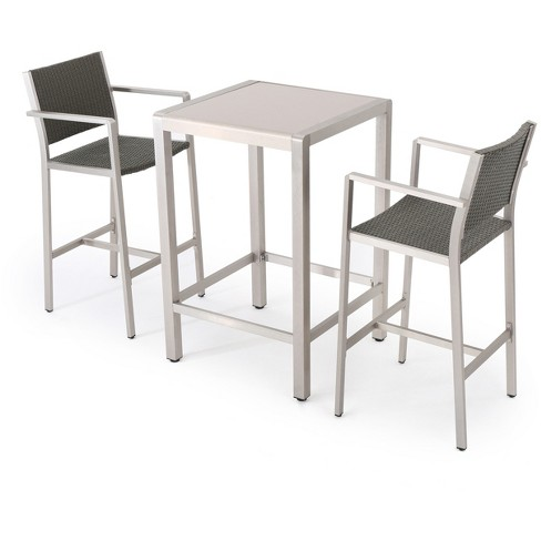 Cape Coral 3pc All-Weather Wicker/Metal Patio Bar Set - Gray - Christopher Knight Home - image 1 of 4
