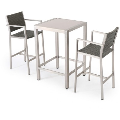 Ordinaire Cape Coral 3pc All Weather Wicker/Metal Patio Bar Set   Gray   Christopher  Knight Home