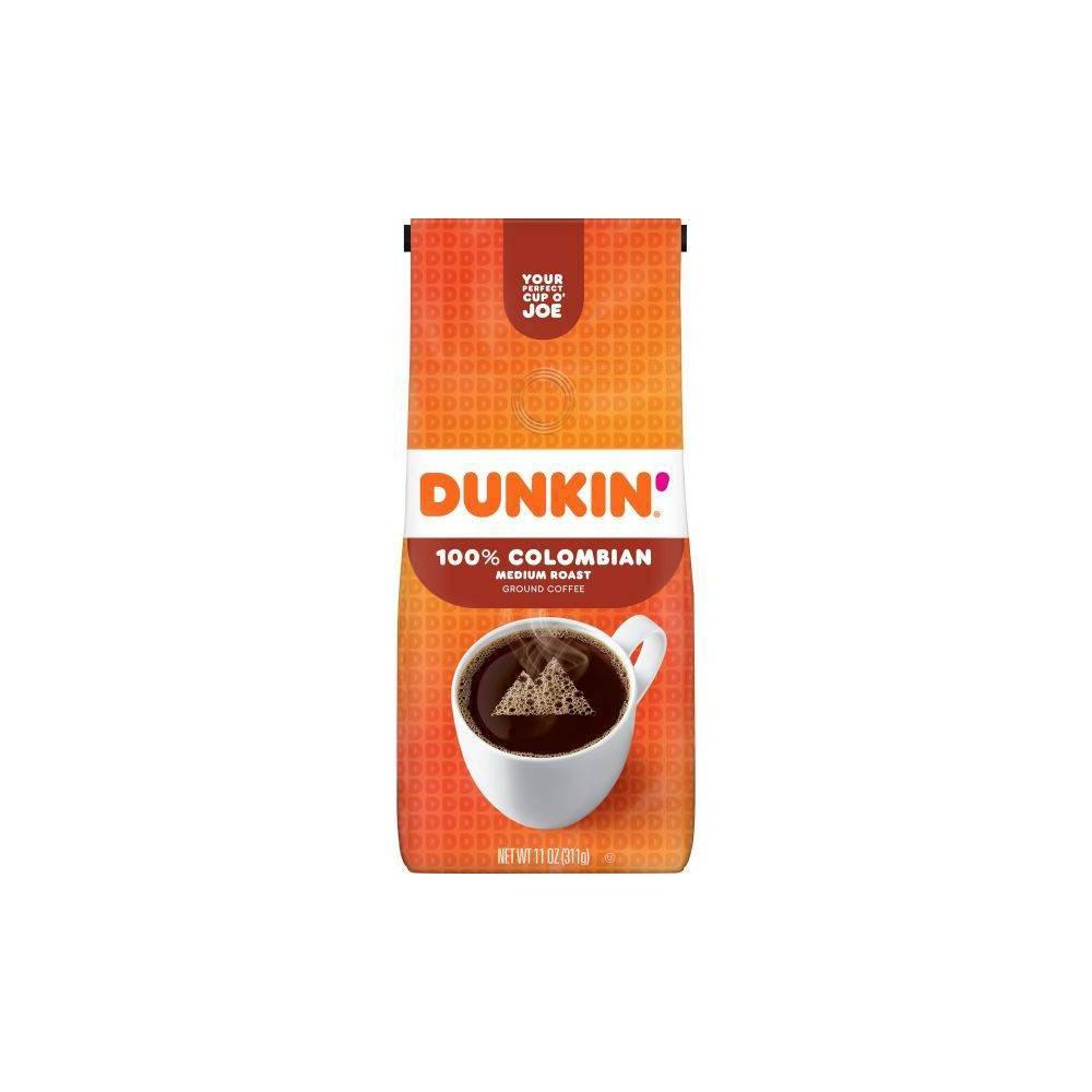 Dunkin Donuts 100 Colombian Medium Roast Ground Coffee 11oz