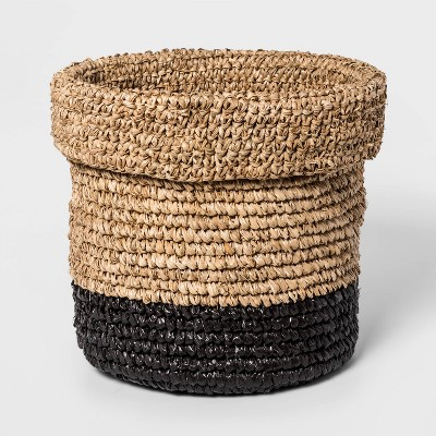"""10.6"""" x 10.6"""" Edge Woven Basket Natural/Black - Project 62™"""