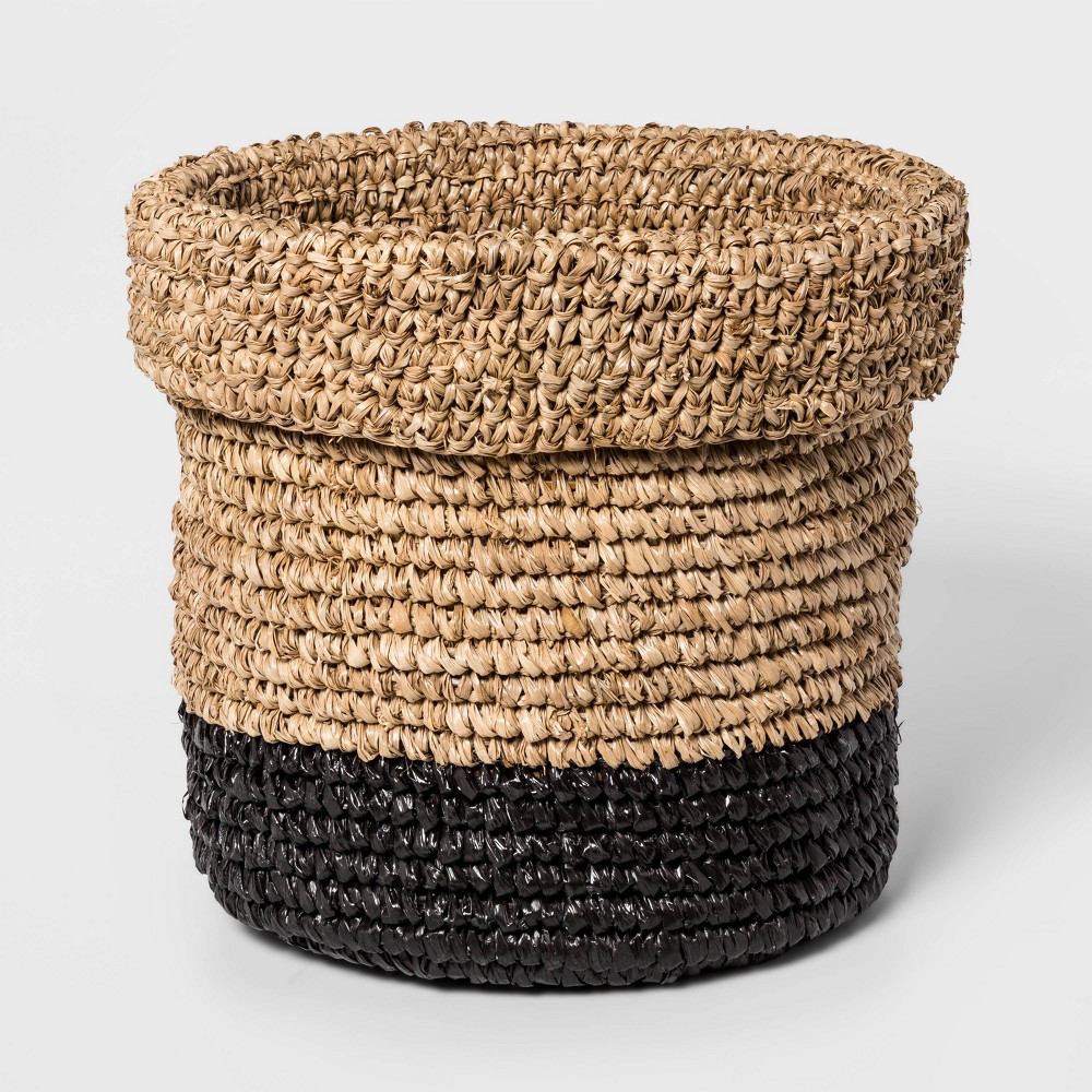 "Image of ""10.6"""" x 10.6"""" Edge Woven Basket Natural/Black - Project 62 , Black Brown"""