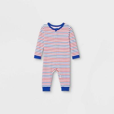 Baby Americana Striped Matching Family Pajamas Union Suit - White