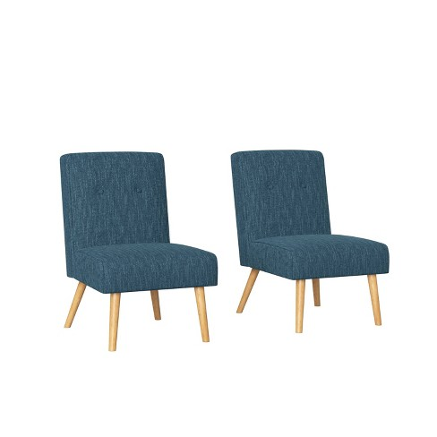 Set of 2 Webster Button Tufted Armless Chair Herringbone Caribbean Blue - Handy Living - image 1 of 4