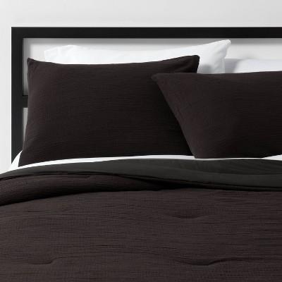 Full/Queen Micro Texture Comforter & Sham Set Black - Project 62™ + Nate Berkus™