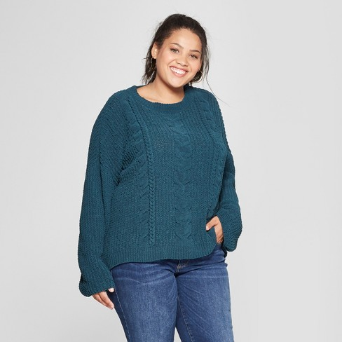 Womens Plus Size Chenille Cable Pullover Sweater Universal Thread