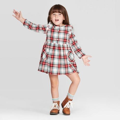 Toddler Girls' Long Sleeve Plaid Dress - Cat & Jack™ Cream/Red - image 1 of 3