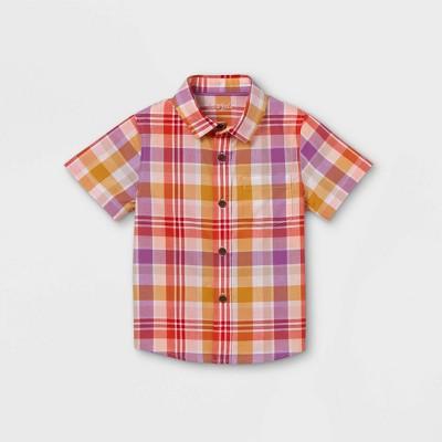 Toddler Boys' Plaid Poplin Woven Short Sleeve Button-Down Shirt - Cat & Jack™ Purple