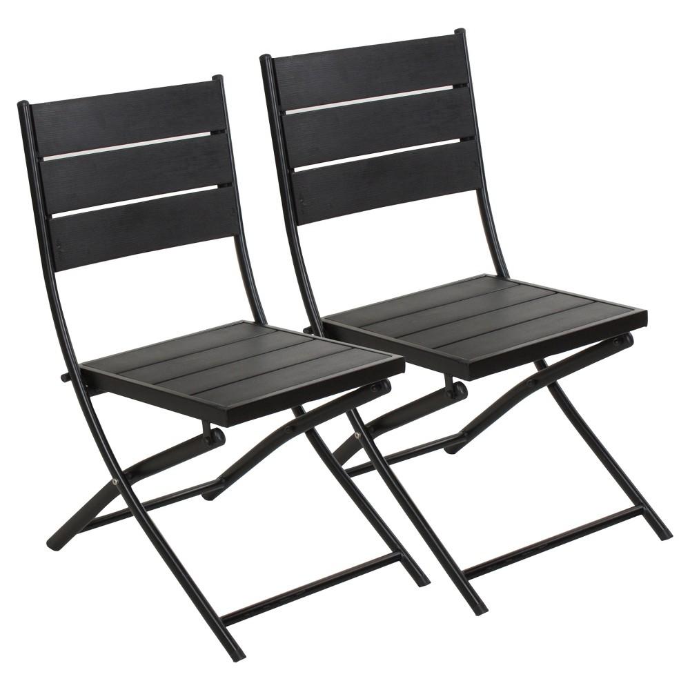 Image of Faux Wood Patio Folding Chair - Set of 2 Captiva Design