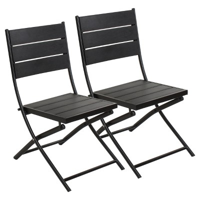 Faux Wood Patio Folding Chair   Set Of 2 Captiva Design