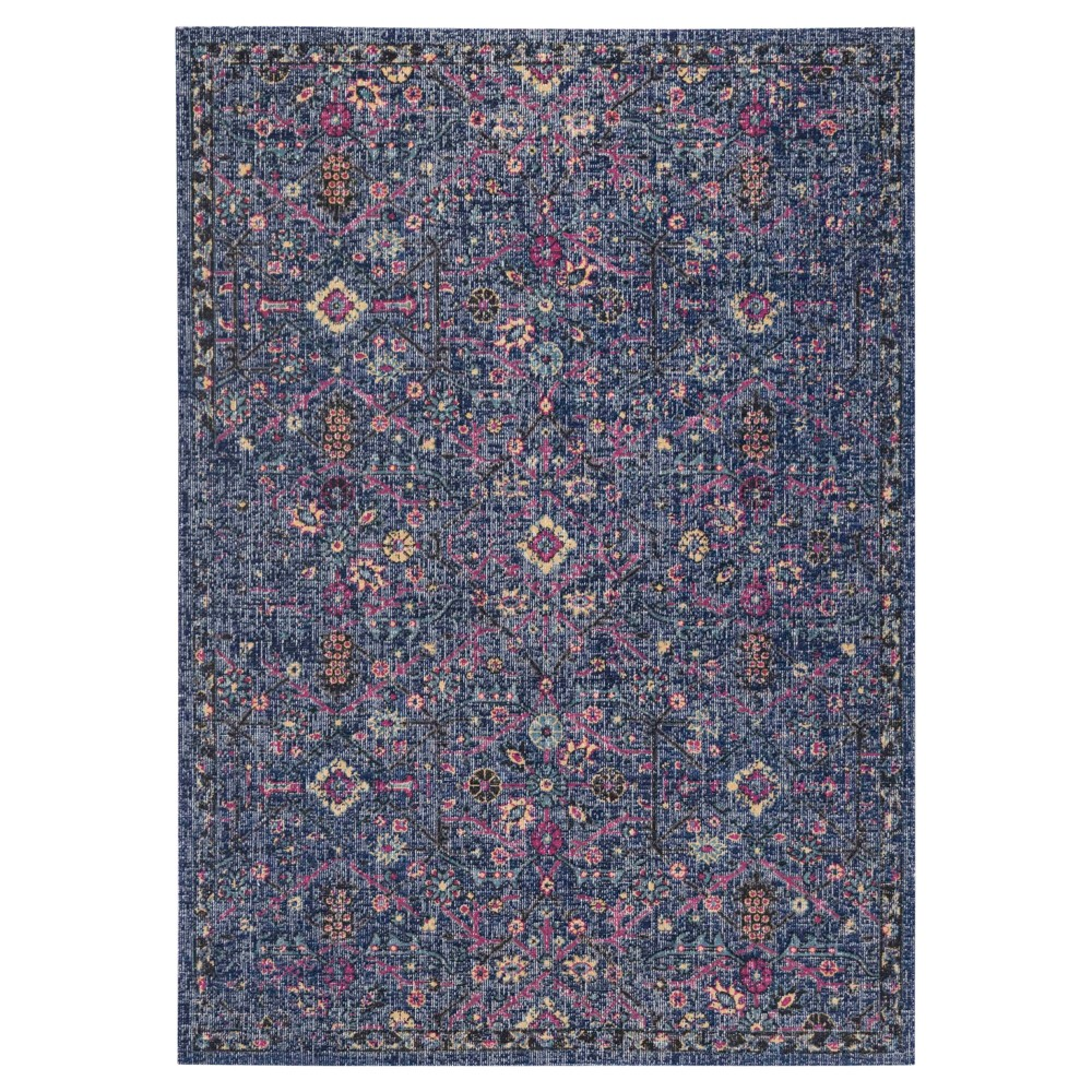 Navy/Anthracite (Blue/Grey) Floral Loomed Area Rug 6'7