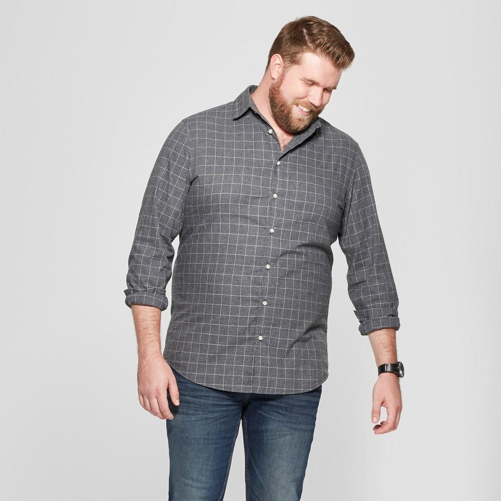 Men's Big & Tall Long Sleeve Dressy Casual Button-Down Shirt - Goodfellow & Co Charcoal (Grey) 4XBT
