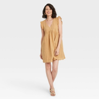 Women's Flutter Short Sleeve Eyelet Dress - Knox Rose™