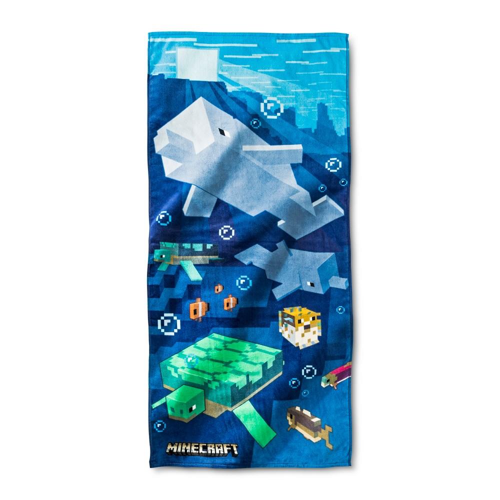 Image of Minecraft Beach Towel Blue - Minecraft