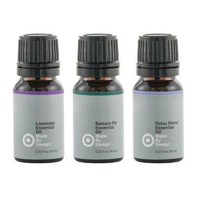 .33 fl oz 3pk 100% Pure Essential Oil Relax Set Lavender/Balsam Fir/ Relax Blend - Made By Design™
