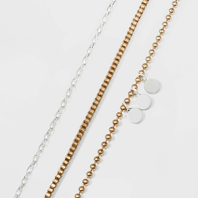 Box and Ball Chain with Discs Anklet Set 3pc - Universal Thread™