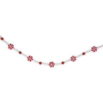 "Northlight 9' x 1"" Red and White Peppermint Candy Beaded Artificial Christmas Garland - Unlit"