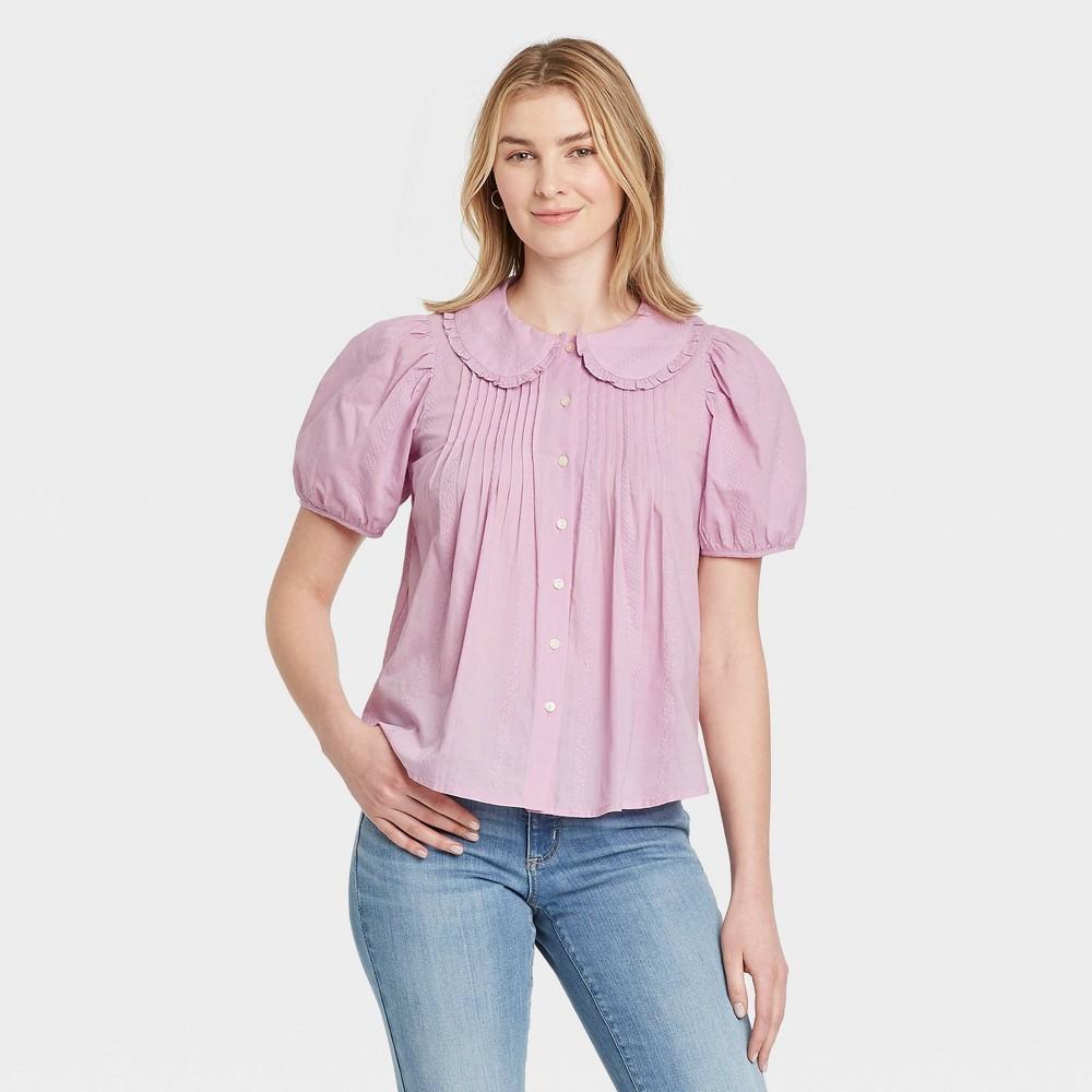 1900 -1910s Edwardian Fashion, Clothing & Costumes Womens Striped Puff Short Sleeve Button-Down Shirt - Universal Thread Lilac XXL Purple $22.99 AT vintagedancer.com