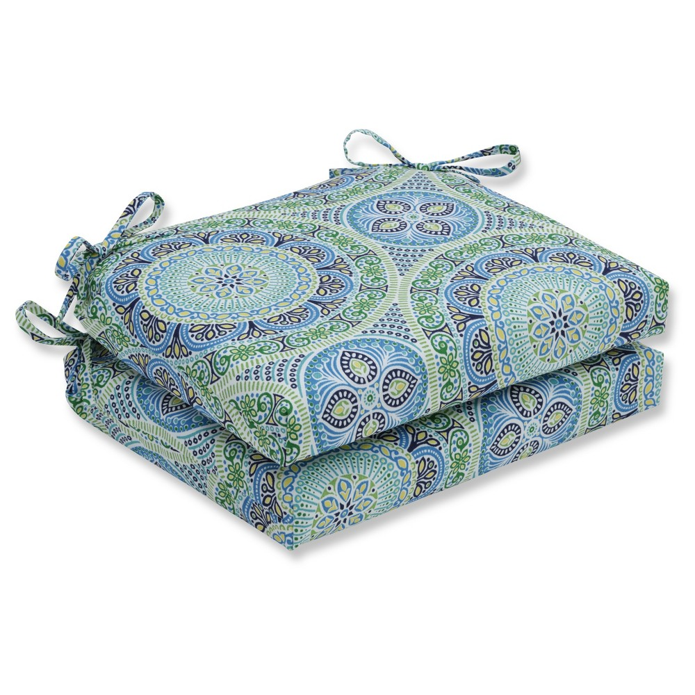 Outdoor/Indoor Delancey Lagoon Squared Corners Seat Cushion Set of 2 - Pillow Perfect