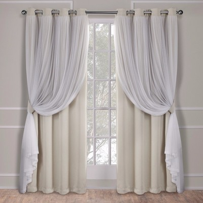 "108""x52"" Caterina Layered Solid Blackout with sheer top curtain panels Sand - Exclusive Home"