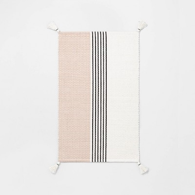 Bath Rug Colorblock Center Stripes Dusty Rose/Railroad Gray - Hearth & Hand™ with Magnolia