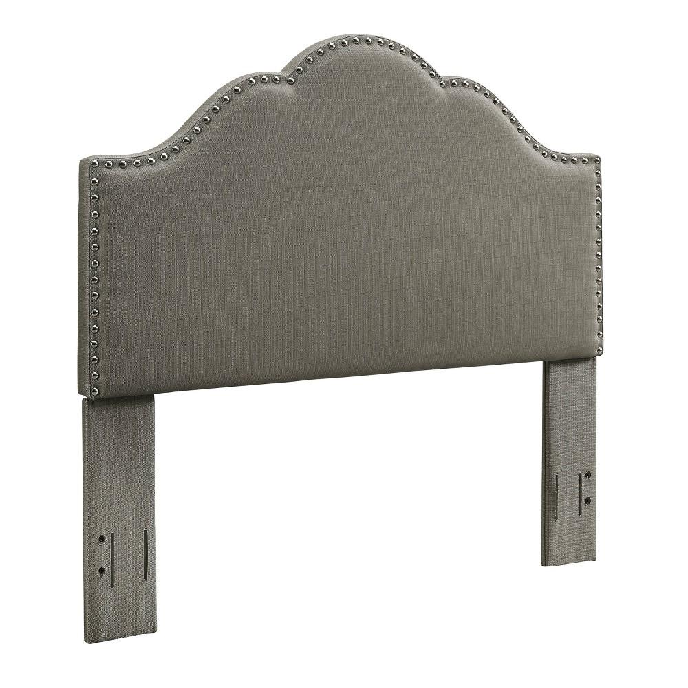 Preston Camelback Upholstered Full/Queen Adult Headboard Linen Shadow Gray - Crosley