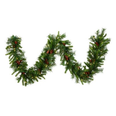 Vickerman 9' Cheyenne Artificial Christmas Garland with 50 Warm White LED Lights