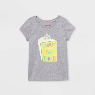 Toddler Girls' 'Hooray For Today' Short Sleeve T-Shirt - Cat & Jack™ Light Gray