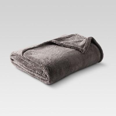 Fuzzy Blanket Full/Queen Dark Gray - Threshold™