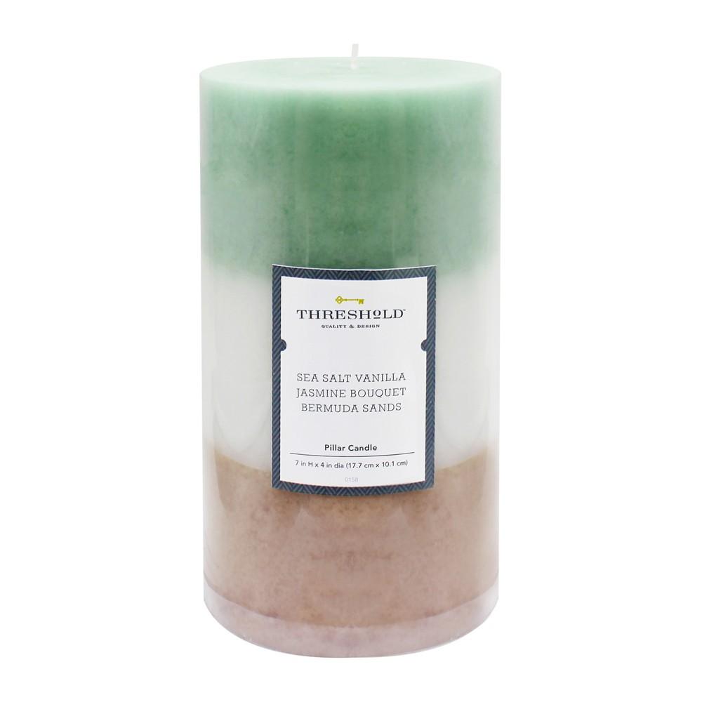 "Image of ""7"""" x 4"""" Layered Mottled Pillar Candle Sea Salt Vanilla/Jasmine Bouquet/Bermuda Sands - Threshold , White Beige Blue"""