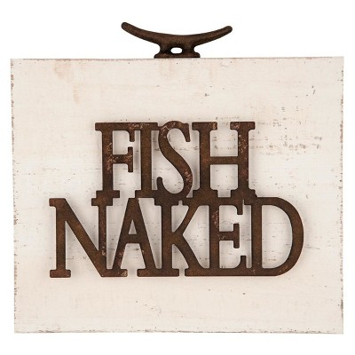 11.25 x2 x12  Wood Metal Fish Naked Wall Art White - Foreside Home & Garden