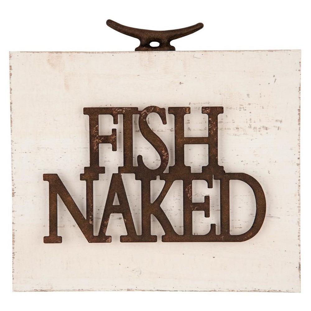 "Image of ""11.25x2""""x12"""" Wood Metal Fish Naked Wall Art White - Foreside Home & Garden"""