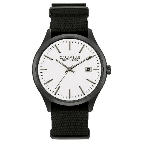 Caravelle New York by Bulova Men's Black Nylon Strap Watch - 45B142 - image 1 of 1