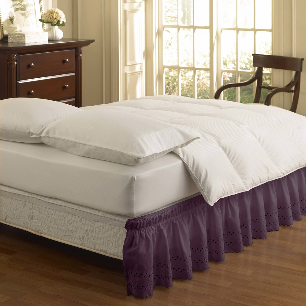 Image of Easy Fit Eyelet Ruffled Queen/King Bedskirt Violet, Purple