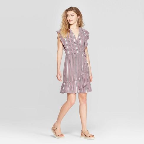 ddc164933891d Women s Striped Short Sleeve Deep V-Neck Ruffle Bottom Wrap Dress -  Xhilaration™ Mauve